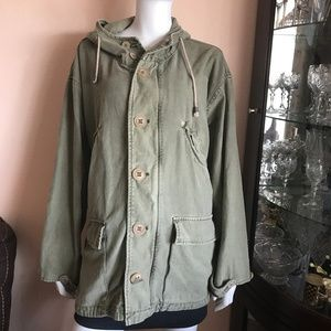 Free People Green Oversized Military Jacket Medium